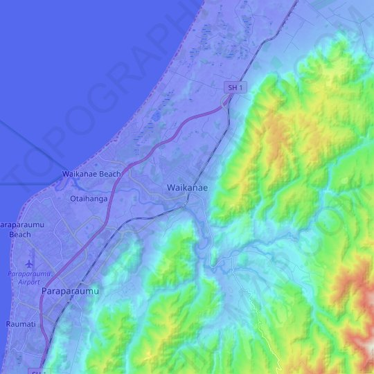 Waikanae topographic map, relief map, elevations map