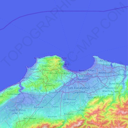 Algiers topographic map, relief map, elevations map