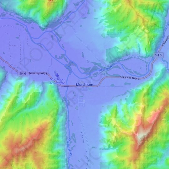 Murchison topographic map, relief map, elevations map