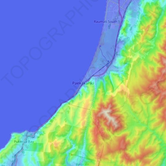 Paekakariki topographic map, elevation, relief