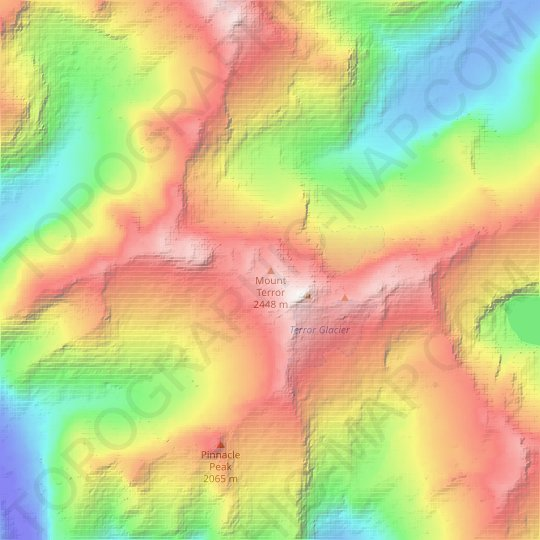 Mount Terror topographic map, relief map, elevations map