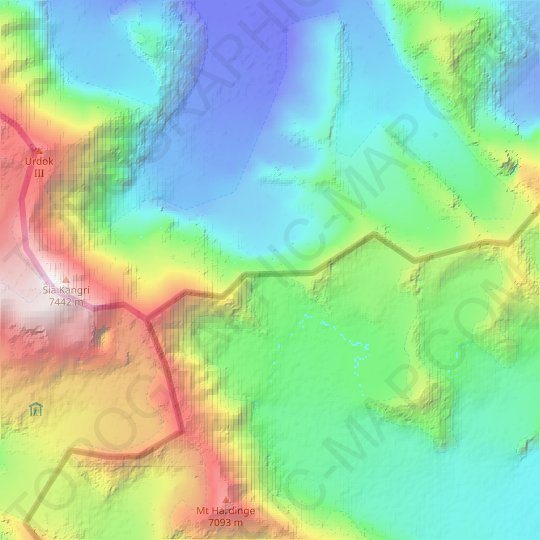 Indira Col topographic map, relief map, elevations map