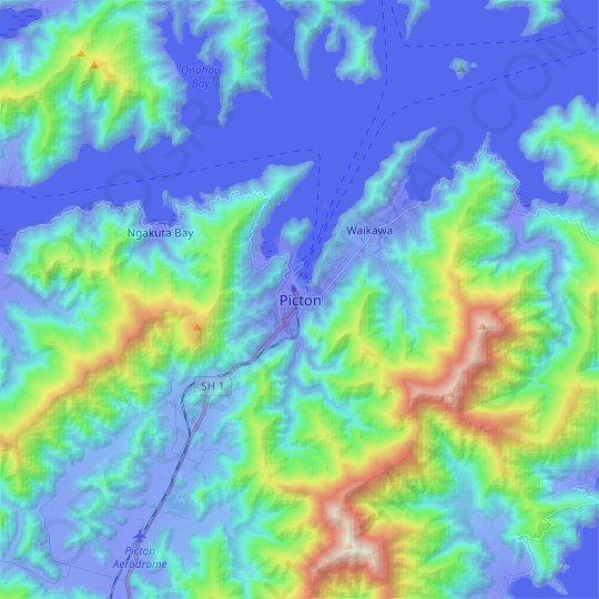 Picton topographic map, relief map, elevations map