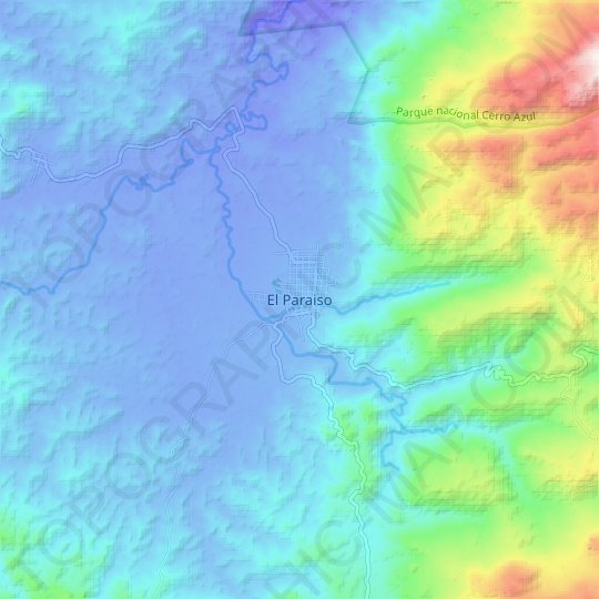 El Paraiso topographic map, relief map, elevations map