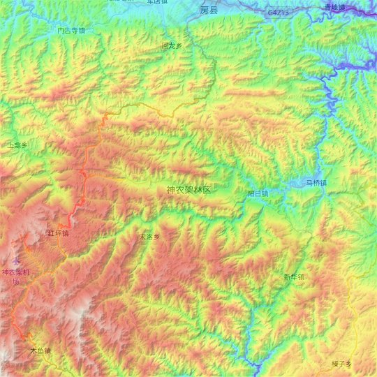 Shennongjia topographic map, relief map, elevations map