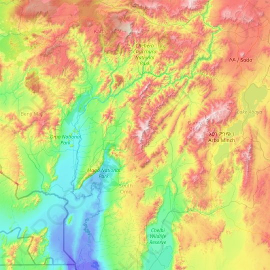 Southern Nations, Nationalities, and Peoples Region (SNNPR) topographic map, relief map, elevations map
