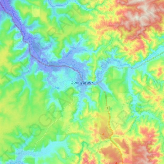 Donnybrook topographic map, relief map, elevations map