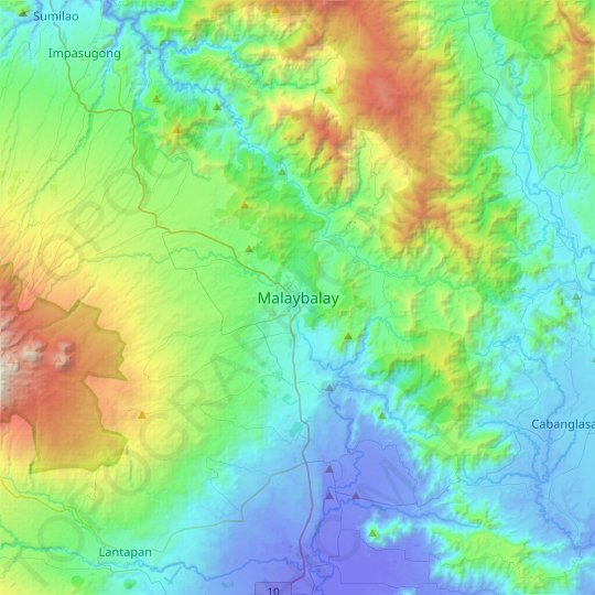 Malaybalay topographic map, relief map, elevations map