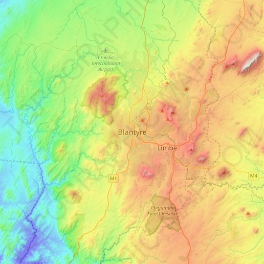 Blantyre topographic map, relief map, elevations map