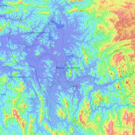 Antananarivo topographic map, relief map, elevations map