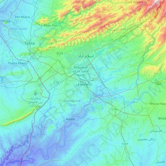 Rawalpindi topographic map, relief map, elevations map