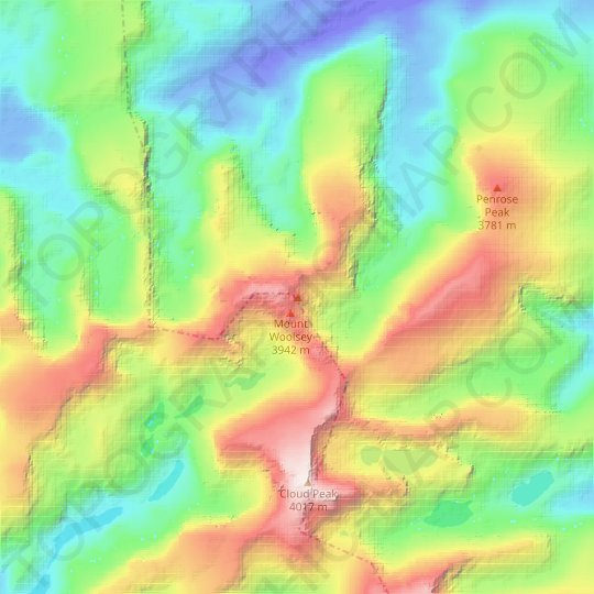 Black Tooth Mountain topographic map, relief map, elevations map