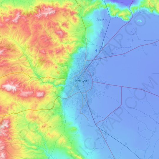 Konya topographic map, relief map, elevations map