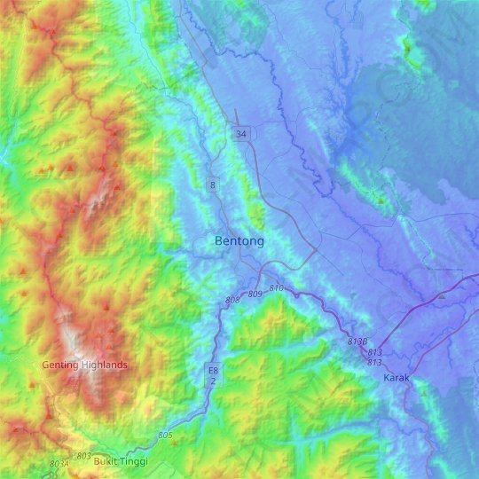 Bentong topographic map, relief map, elevations map