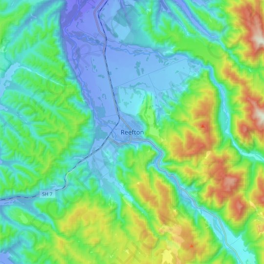 Reefton topographic map, relief map, elevations map