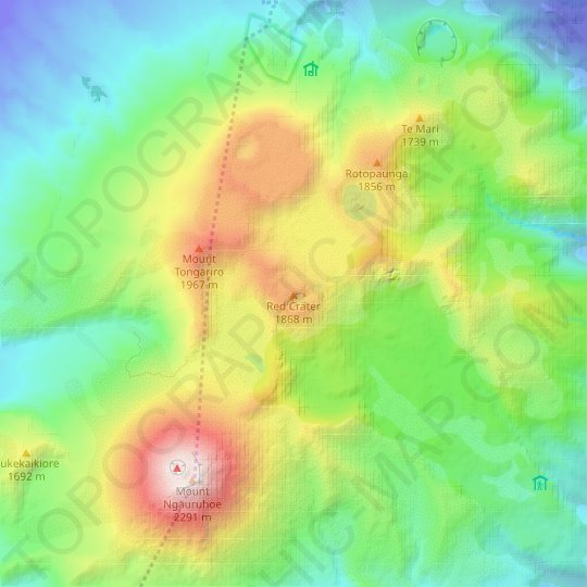 Red Crater topographic map, relief map, elevations map