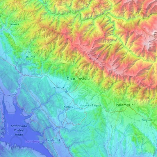 Dharamshala topographic map, relief map, elevations map