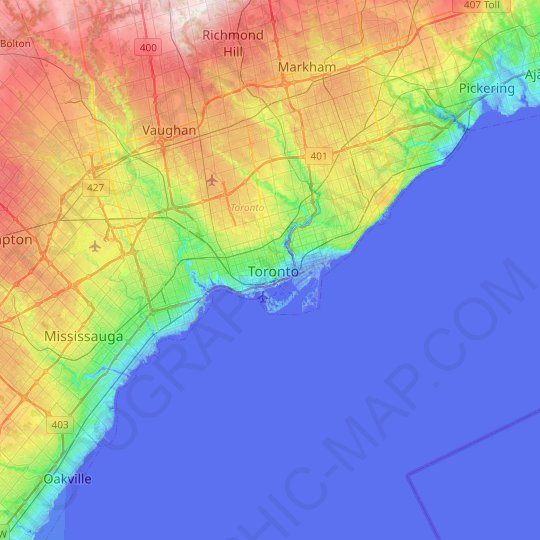 Toronto topographic map, relief map, elevations map