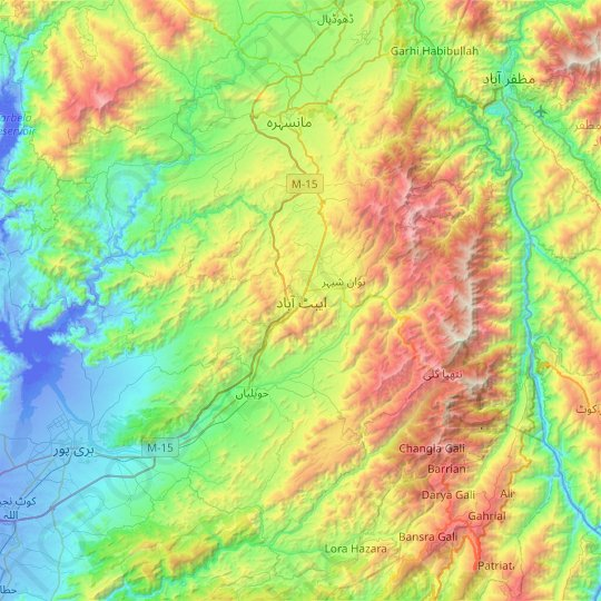 Abbottabad topographic map, relief map, elevations map