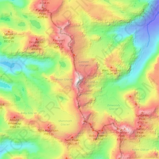 Gannett Peak topographic map, relief map, elevations map