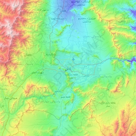Kabul topographic map, relief map, elevations map