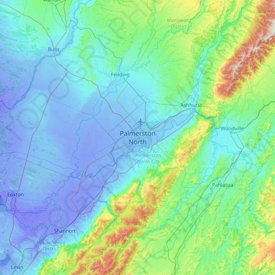 Palmerston North topographic map, relief map, elevations map