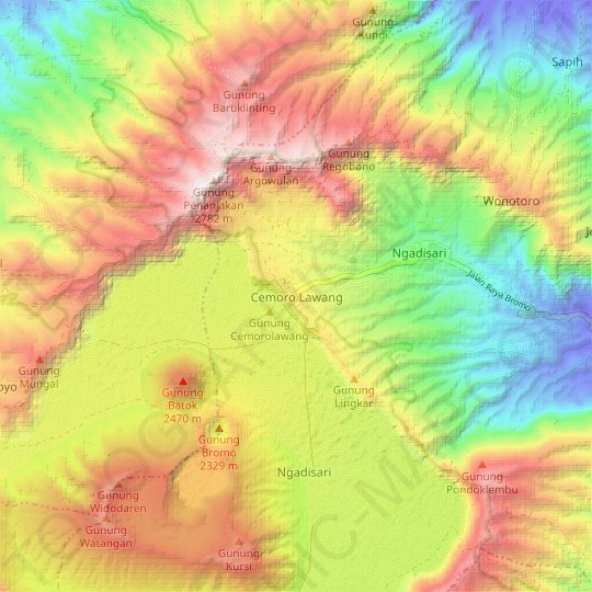 Cemoro Lawang topographic map, relief map, elevations map