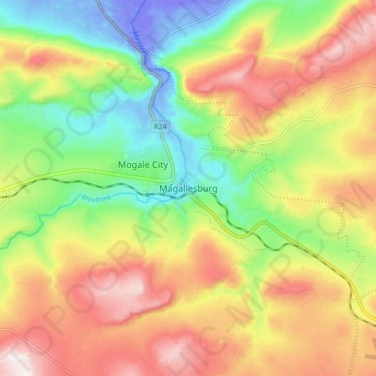 Magaliesburg topographic map, relief map, elevations map