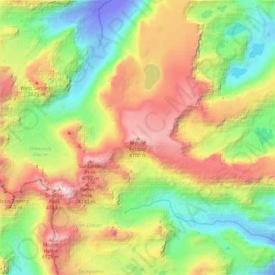 Mount Febbas topographic map, relief map, elevations map