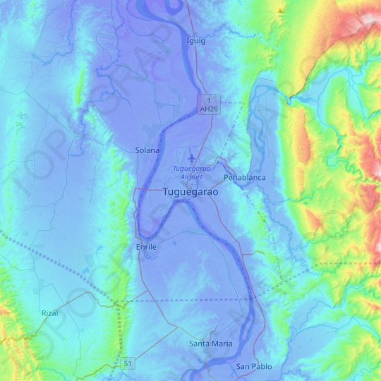 Tuguegarao topographic map, relief map, elevations map
