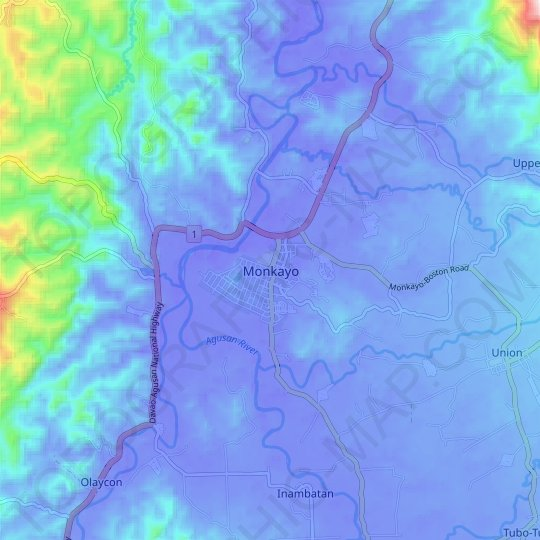 Monkayo topographic map, relief map, elevations map