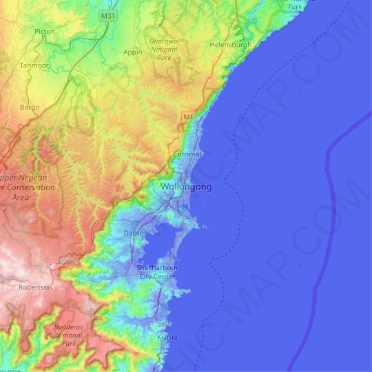 Wollongong topographic map, relief map, elevations map