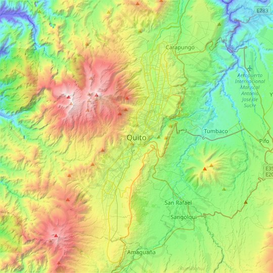 Quito topographic map, relief map, elevations map