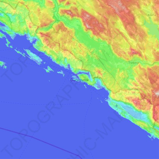 Dubrovnik topographic map, relief map, elevations map