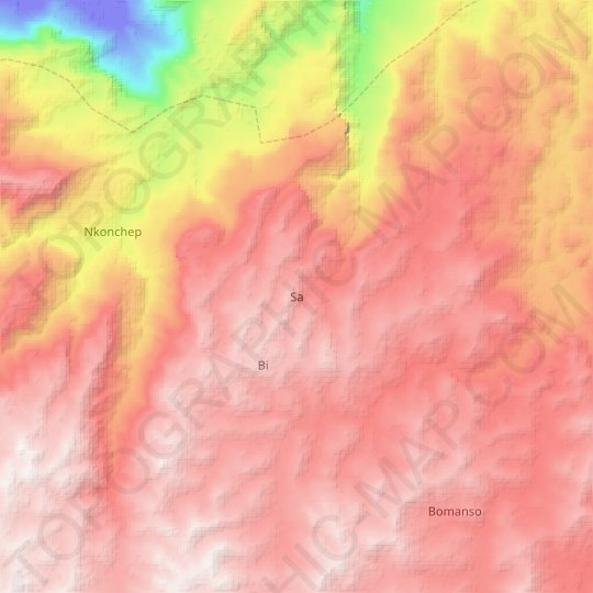Sa topographic map, relief map, elevations map