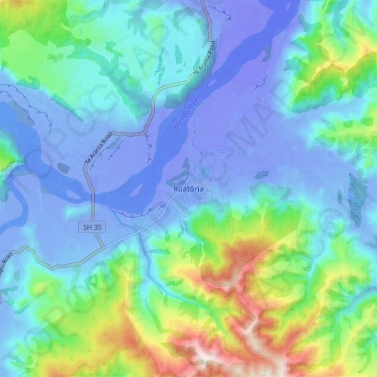 Ruatōria topographic map, relief map, elevations map