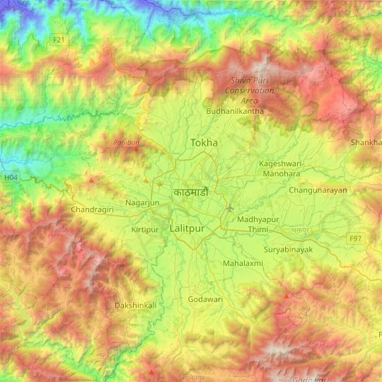 Kathmandu topographic map, relief map, elevations map