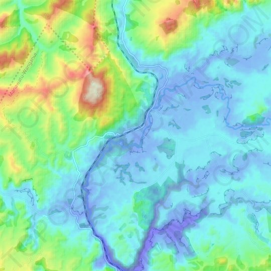 Waimiha topographic map, relief map, elevations map