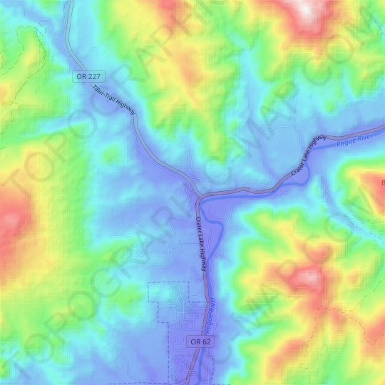 Trail topographic map, relief map, elevations map