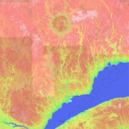 Manicouagan topographic map, relief map, elevations map