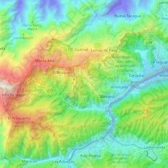 Parroquia Antimano topographic map, relief, elevation