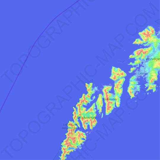 Nordland topographic map, relief map, elevations map