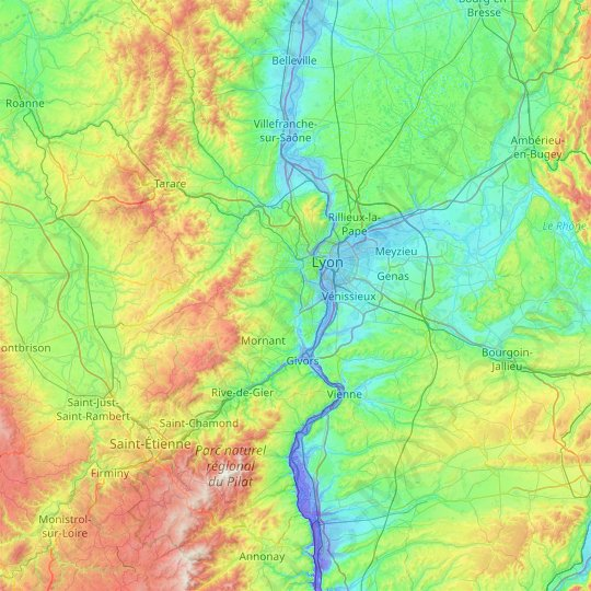 Lyon topographic map, relief map, elevations map