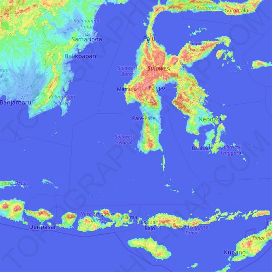 South Sulawesi topographic map, relief, elevation