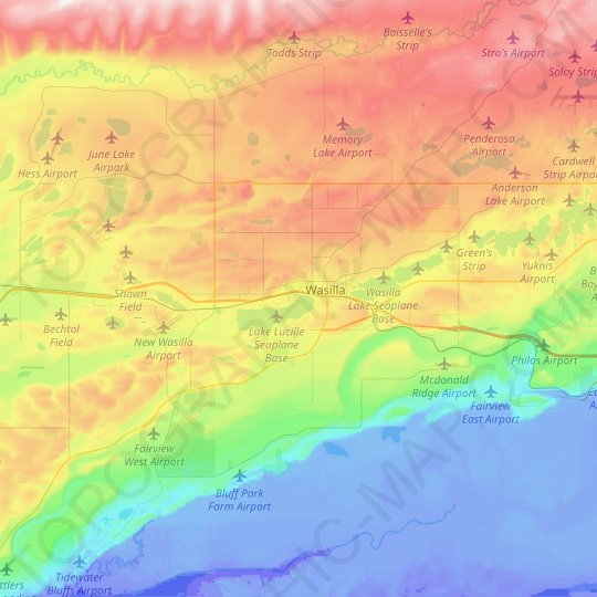 Wasilla topographic map, elevation, relief