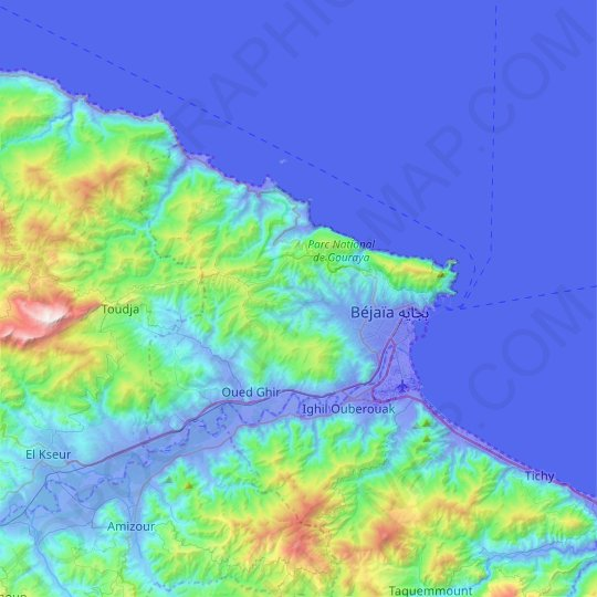 Bejaia District topographic map, relief map, elevations map