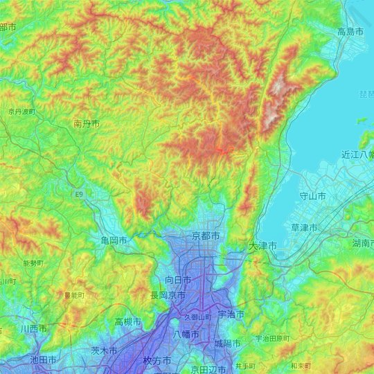 Kyoto topographic map, relief map, elevations map