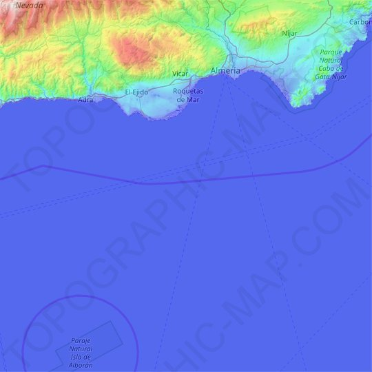 Almeria topographic map, relief map, elevations map