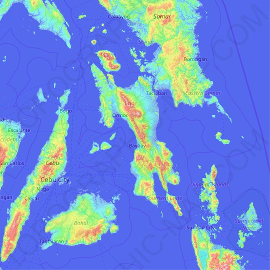 Leyte topographic map, relief, elevation