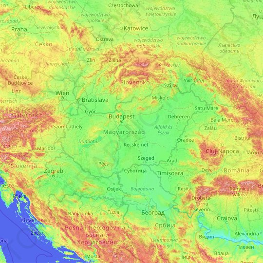 Hungary topographic map, elevation, relief
